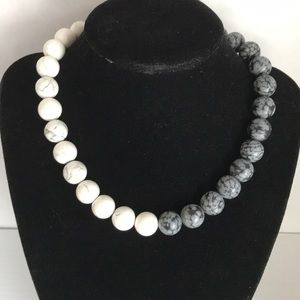 White Howlite, Snow Obsidian, sterling clasp neck
